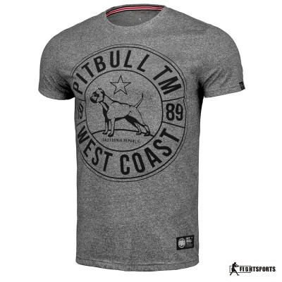 PIT BULL KOSZULKA CUSTOM FIT CIRCLE DOG GREY